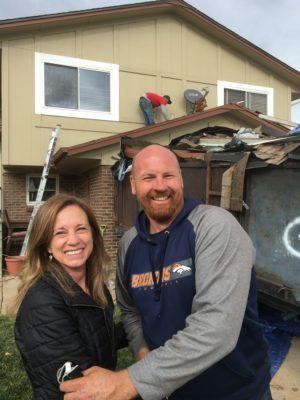 New Roof Plus Greg Jones with a happy customer