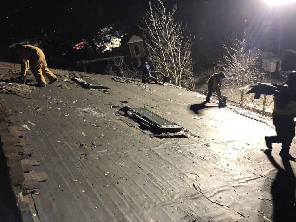 Night time roofing job