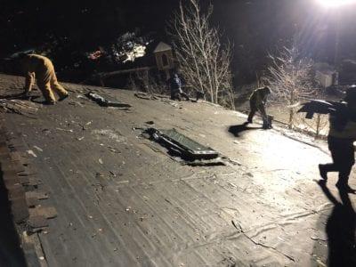 Nighttime roofing job