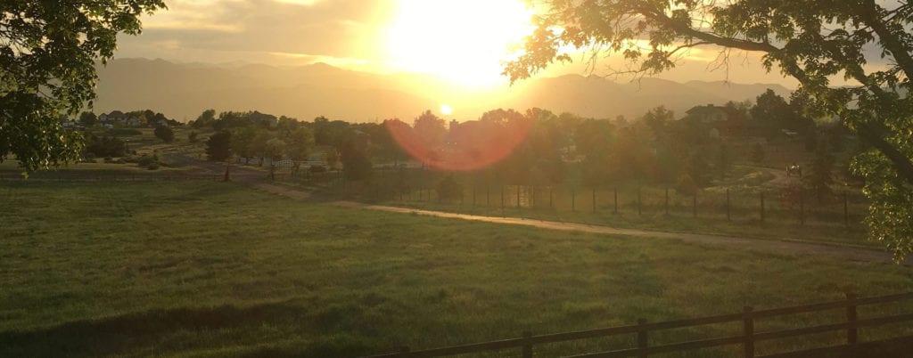 Sun setting over Colorado mountains