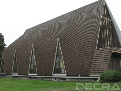 DECRA stone coated steel shingles on large chruch building