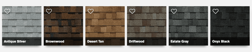 shingle color options from owens Corning