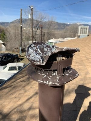 Roof vent damaged by hail storm