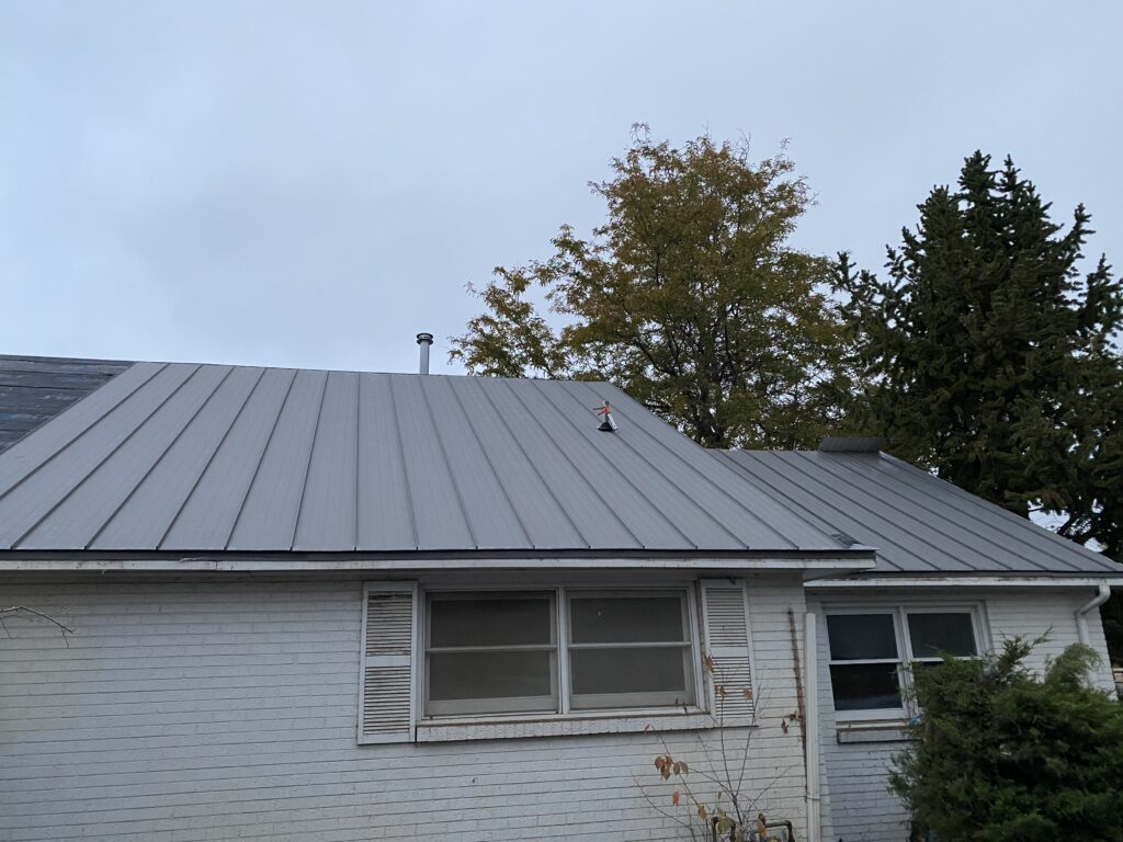 New residential roof installation. Metal roof installation on home in Denver metro area.